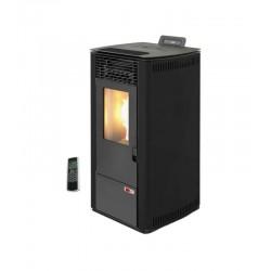 Estufa de pellets canalizable 10 kW de alto rendimiento AMG Burn 12C Negro