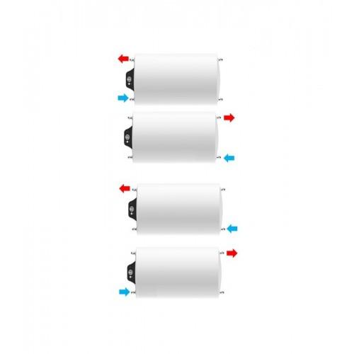 Instalación horizontal, parte eléctrica a la izquierda de Termo eléctrico de 100 litros Aparici H100 multiposicional