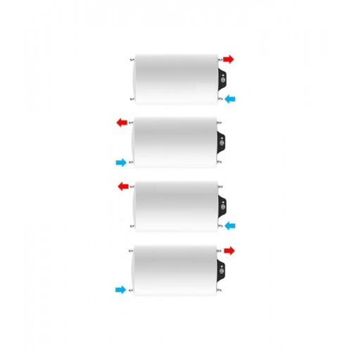 Instalación horizontal, parte eléctrica a la derecha de Termo eléctrico de 120 litros Aparici H120 multiposicional