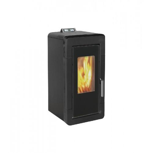 Estufa de pellets para calefacción central negra AMG Hidro Mayólica de 14 kW con mando a distancia