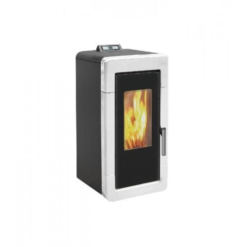 Estufa de pellets para calefacción central blanca AMG Hidro Mayólica de 14 kW con mando a distancia