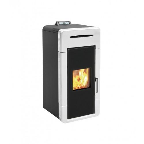 Estufa de pellets para calefacción central blanca AMG Hidro Mayólica 24 con mando a distancia