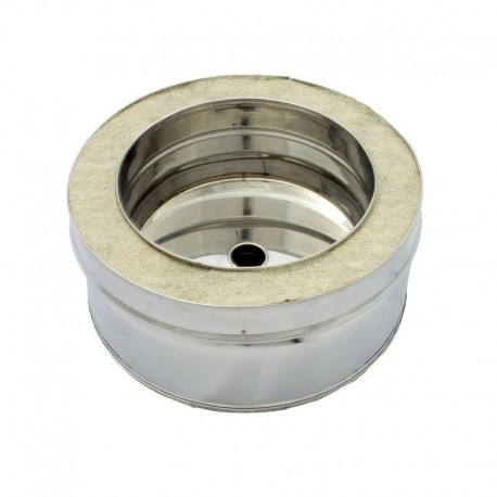 Colector tapón hollín con desagüe de doble pared 100 mm en acero inox 316L Dinak DW Pellets
