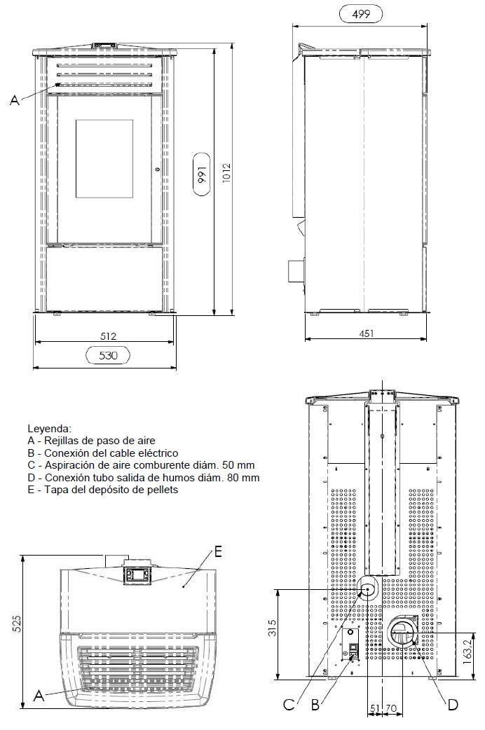 Dimensiones Estufa Pellet Ferroli Mercurio
