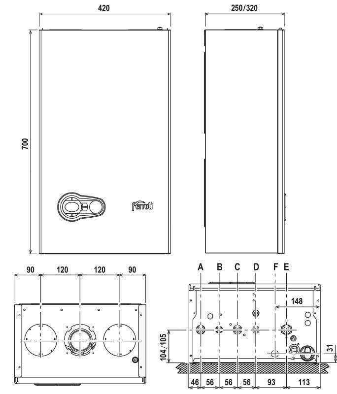 Medidas caldera Ferroli Bluehelix Pro Slim 27c