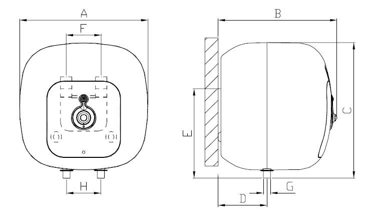 Dimensiones Termo eléctrico Ferroli Cubo 30 litros  PLUS SG 30 VE