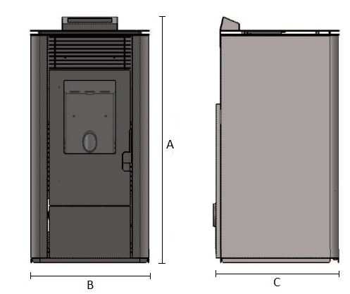 Dimensiones de Estufa de pellets NewBurn de 10 kW AMG Negro