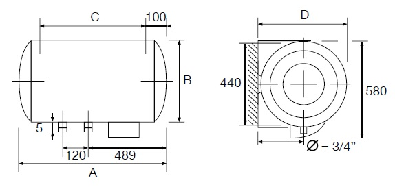 Dimensiones de Termo eléctrico Thermor Concept N4 HZ Horizontal mural