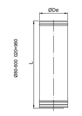 Dimensiones de Tubo de doble pared en acero inoxidable 304/316L Dinak DP de 960 mm