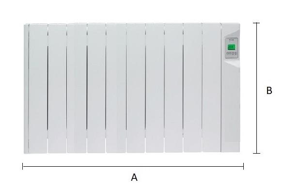 Dimensiones del emisor térmico eléctrico Ducasa AVANT DGP-E-LC 1500 W