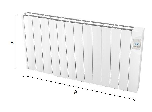 Dimensiones del radiador eléctrico Ducasa AVANT WIFI 1800