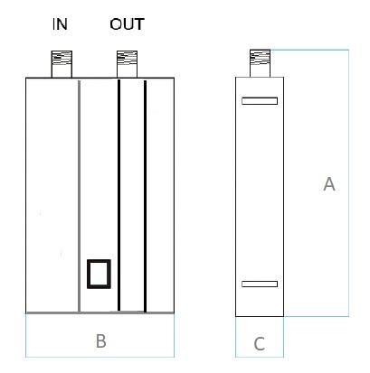 Dimensiones de Descalcificador electrónico Dropson EMI