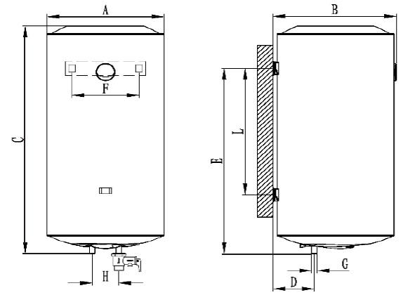 Dimensiones Termo Eléctrico vertical Ferroli Classical SEV PLUS