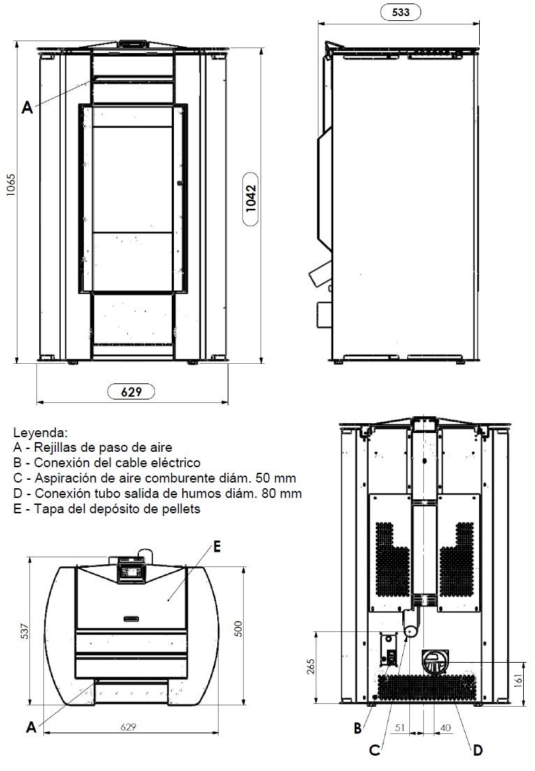 Dimensiones Estufa Pellets Penelope HR