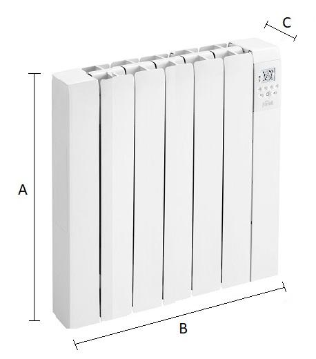 Dimensiones del emisor térmico eléctrico Ferroli Rimini DP 75
