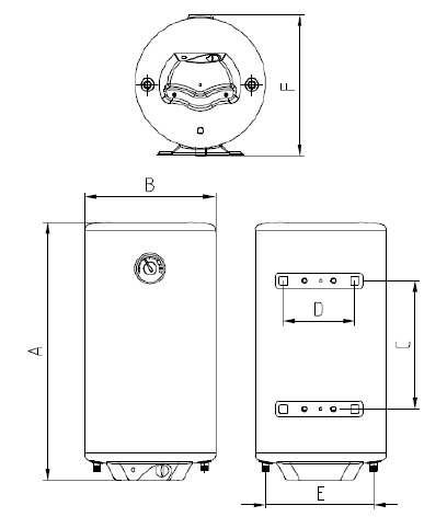Dimensiones de Termo Eléctrico Nofer Gran Capacidad SB-N