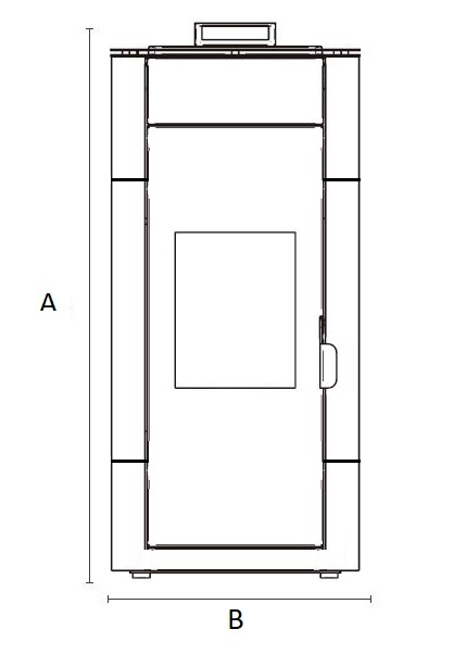 Dimensiones de Hidro Estufa de pellets para radiadores Idro Majolica AMG MaXlor