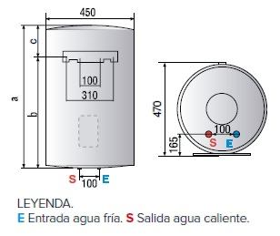 Dimensiones del Termo eléctrico Ariston Lydos PLUS vertical