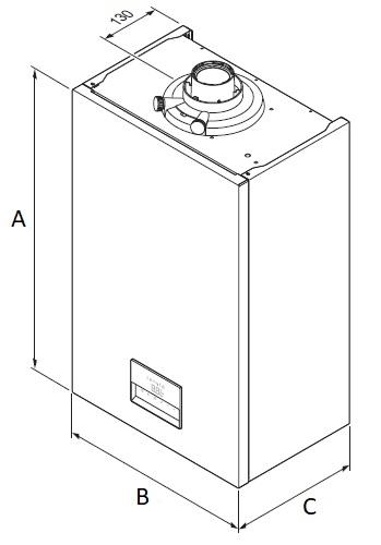 Dimensiones de Caldera de condensación Hermann Micracom Condens 28-AS/1