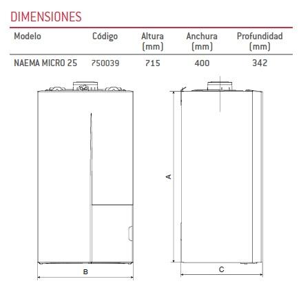 Dimensiones Caldera a gas de condensación Thermor NAEMA MICRO 25