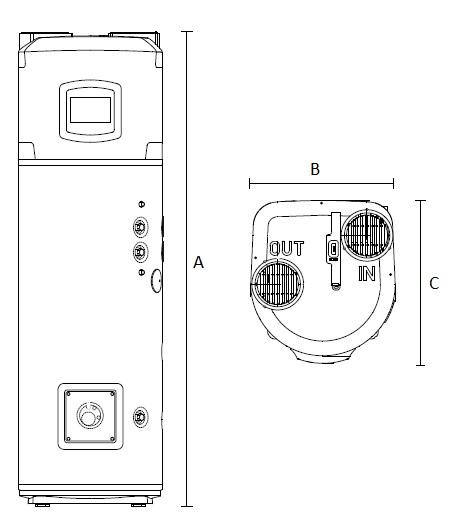 Dimensiones de Bomba de calor para ACS vertical de suelo Ariston NUOS PLUS WiFi