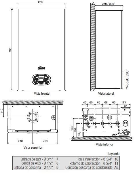 Dimensiones caldera de gas Ferroli Pro RRT Slim 24 C