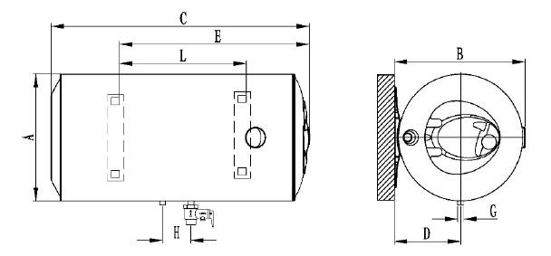 Dimensiones Termo Eléctrico Ferroli Classical horizontal SEH PLUS