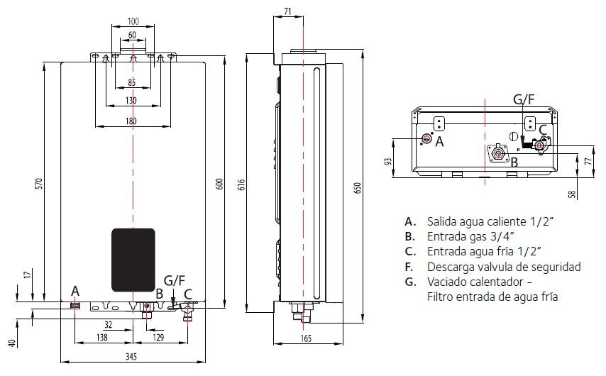 Dimensiones de Calentador Ariston Next Evo X SFT 11 NG PIB estanco a bajo NoX a gas butano