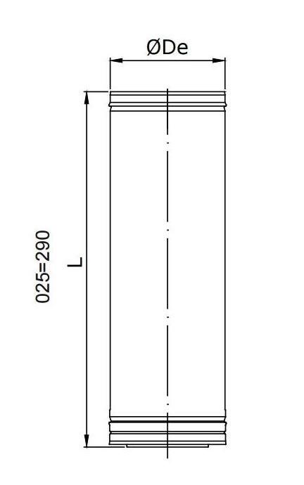Dimensiones Tubo de acero inoxidable recto corto Dinak DP 304 / 304