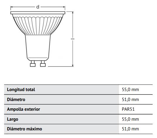 Dimensiones y peso de dicroica led regulable Osram Parathom PAR16 de 4.6W 2700K