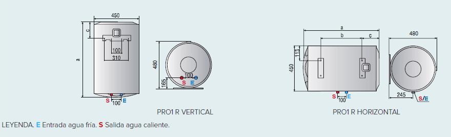 Dimensiones termo eléctrico Ariston Pro1 R