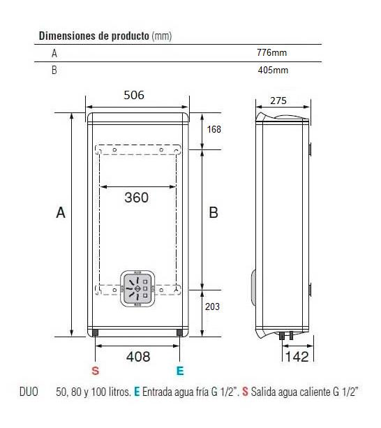 dimensiones termo Fleck DUO5 50