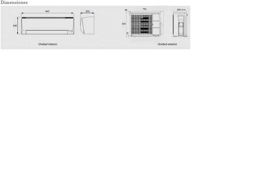 Dimensiones de Aire acondicionado 2x1  Fujitsu 5 kw