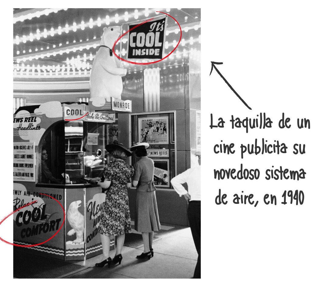 Publicidad de aire acondicionado en el cine 1940