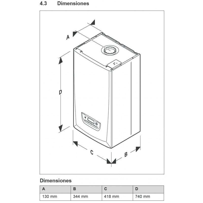 Esquema dimensiones caldera Saunier Duval de condensación ThemaFast S 30