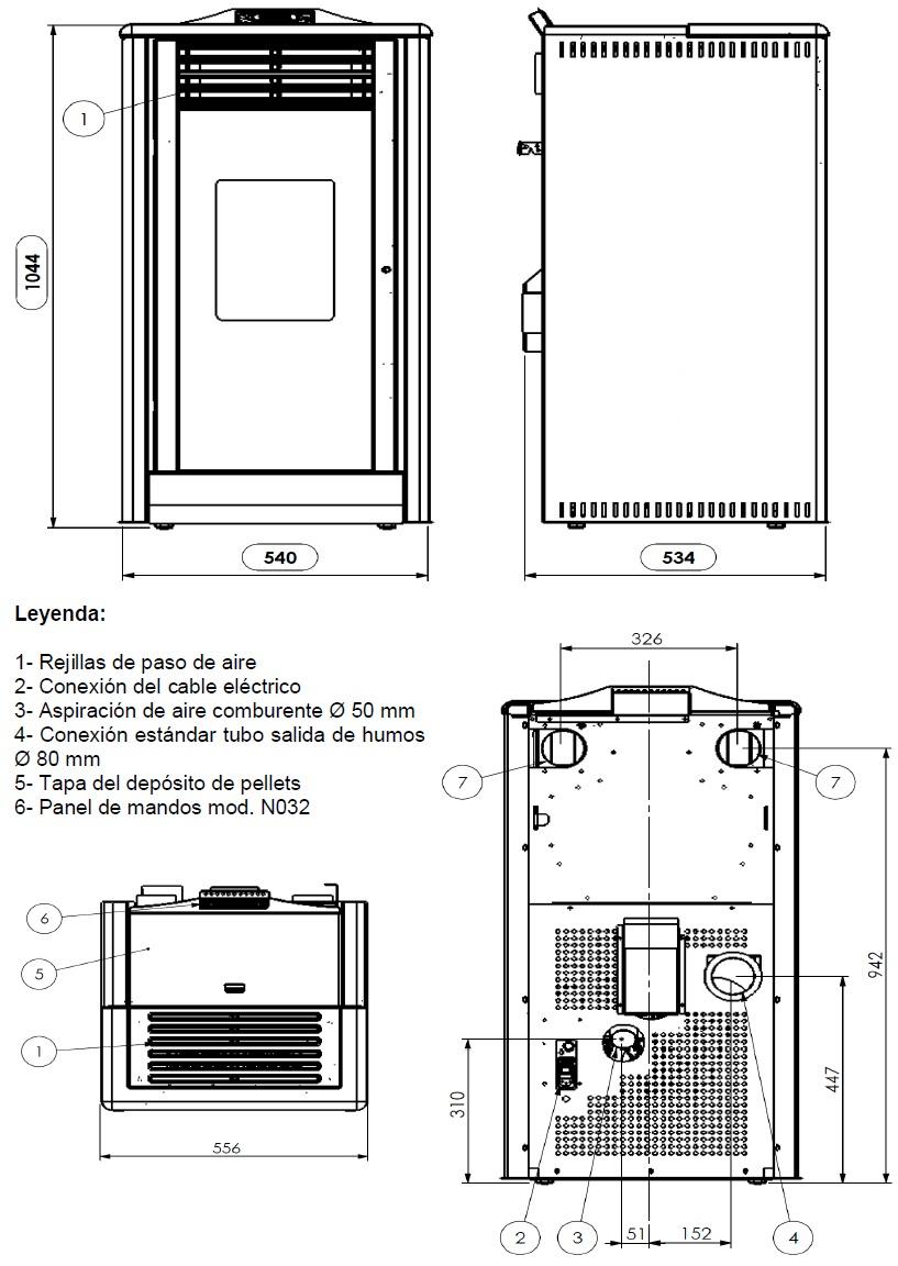 Dimensiones Estufa Pellets 9 Kw Ferroli Diadema