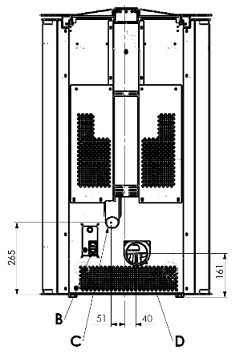 Dimensiones Estufa de Pellets 12,72 Kw Ferroli Penélope HR