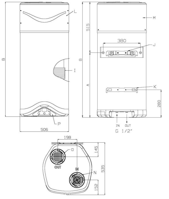 Gráfico de las dimensiones de aerotermo bomba calor para acs Ariston Nuos EVO A+ WH