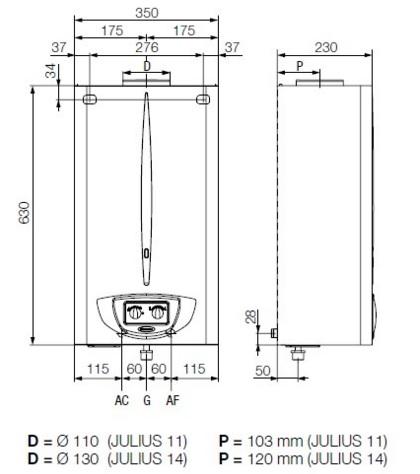Gráfico de las dimensiones del calentador automático Immergas Julius 11 4 ErP