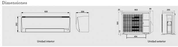 Medidas aire acondicionado Fujitsu ASY 25UILLC