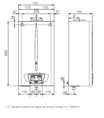 Medidas calentador estanco Immergas Caesar 14