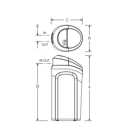 Esquema y dimensiones descalcificador Robosoft 120 e ATH Ecowater: