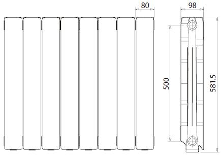 Medidas radiador Ferroli Proteos 600