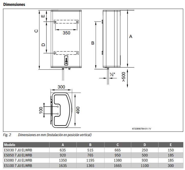 Dimensiones Termo Junkers 80 litros Excellence 4500 Reversible ES 080 7 Compacto