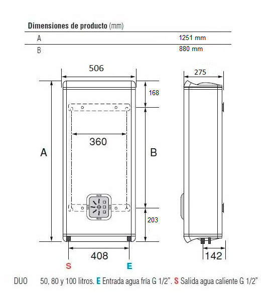 Dimensiones termo Fleck DUO5 100