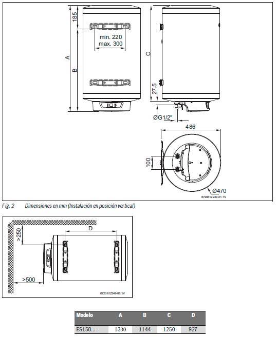 Termo el ctrico junkers elacell excellence es 150 5e 150 - Termo electrico instalacion ...