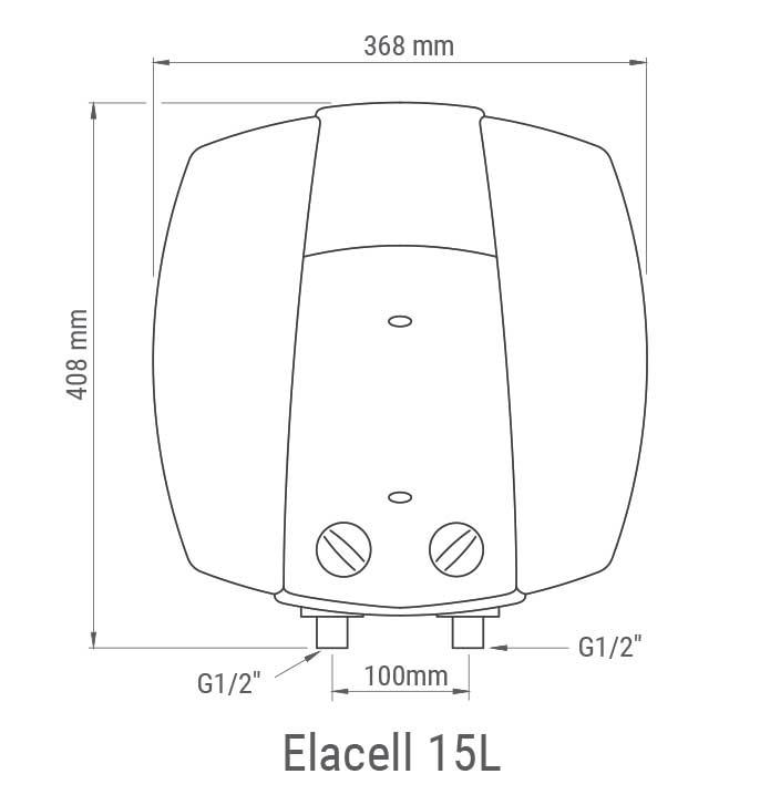 Medidas del termo eléctrico Junkers Elacell 015 5 Referencia 7736503630 de instalación vertical