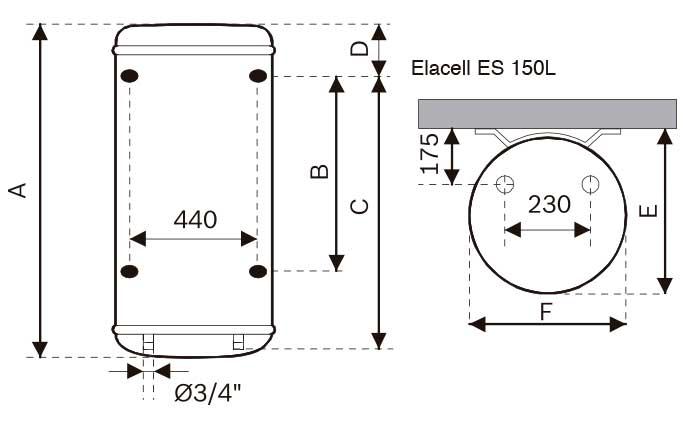 Medidas del termo eléctrico Junkers Elacell A.L. 150 L vertical de referencia 7736503464