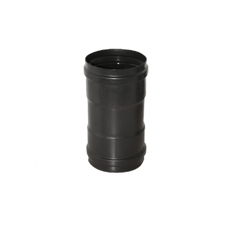 Manguito 80mm acero vitrificado negro Dinak de simple pared  Deko Pellets