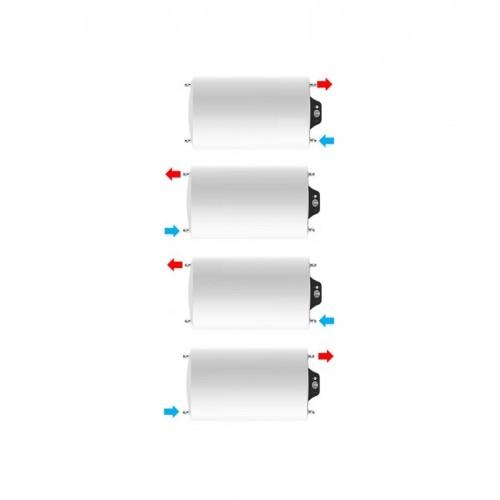 Instalación horizontal, parte eléctrica a la izquierda de Termo eléctrico de 75 litros Aparici H075 multiposicional